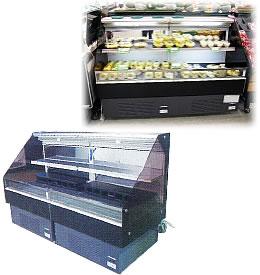 3尺ヒナ段冷蔵オープンケース連結(棚1段)
