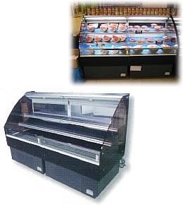 3尺ヒナ段冷蔵オープンケース(連結)棚2段